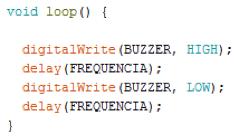 Código para emitir o som