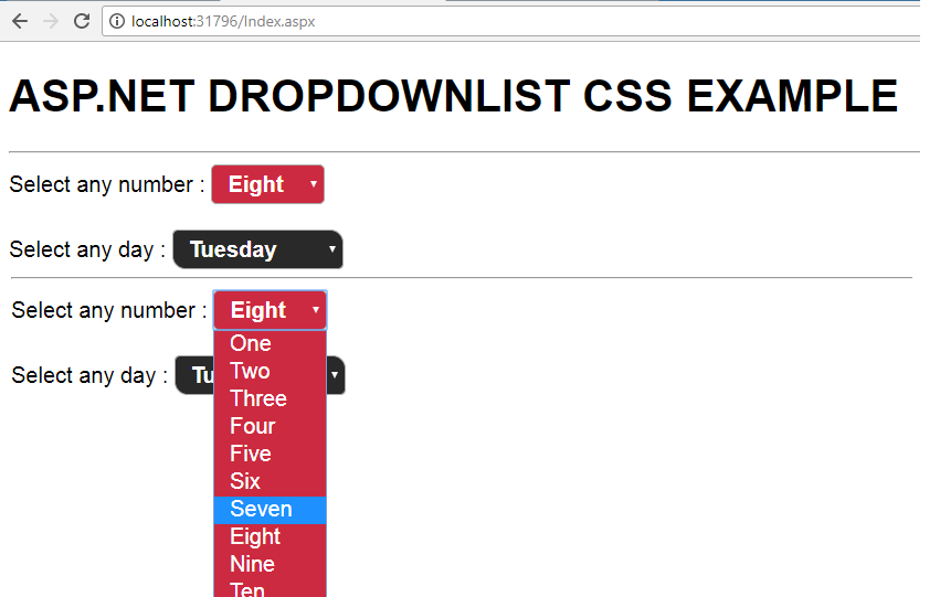 ASP NET Styling Dropdownlist using CSS • ParallelCodes