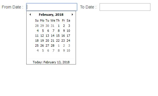 AJAX Date picker in ASP.NET Snapshot 01