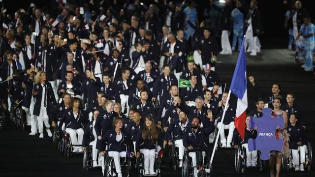 French team entering Olympic Stadium for Rio 2016 Opening Ceremony