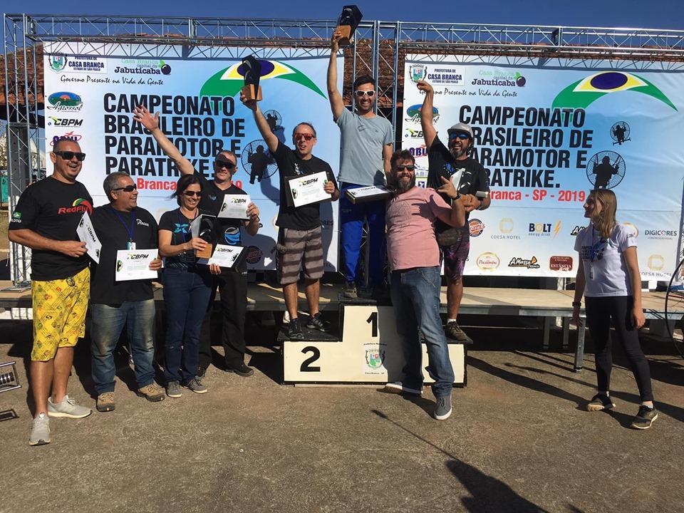 Pódio campeonato Brasileiro de Paramotor, Casa Branca - SP, Julho de 2019