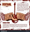 Rock festival design template with electric guitar and place for your text
