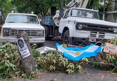 Manifestación por obra en blvr. Racedo Paraná