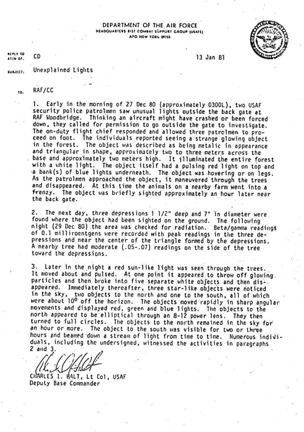Rendlesham Forest Incident Halt Memo