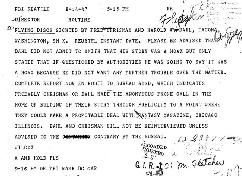 The Maury Island Incident FBI report