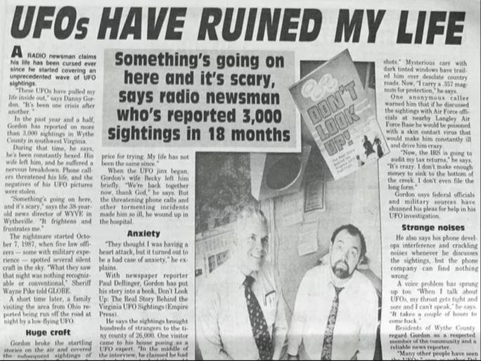 Danny Gordon Wytheville UFo newspaper article