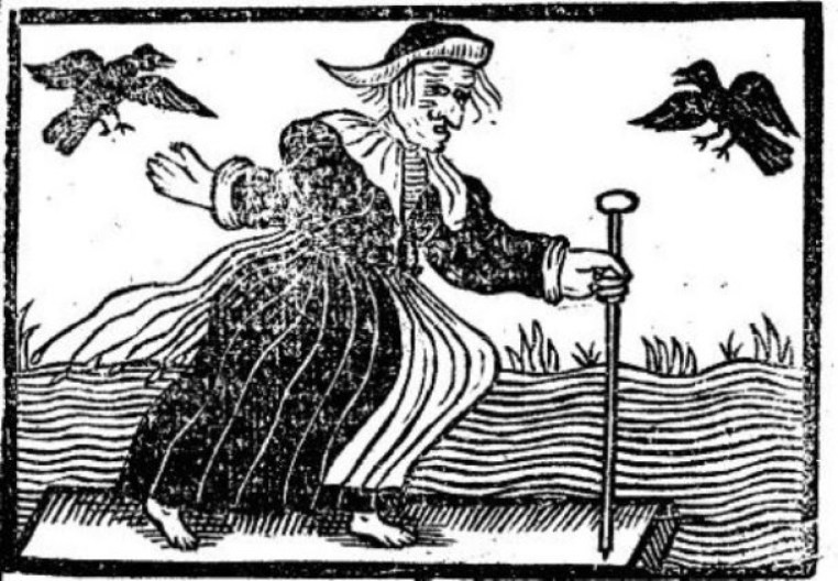 Witch raven woodcut