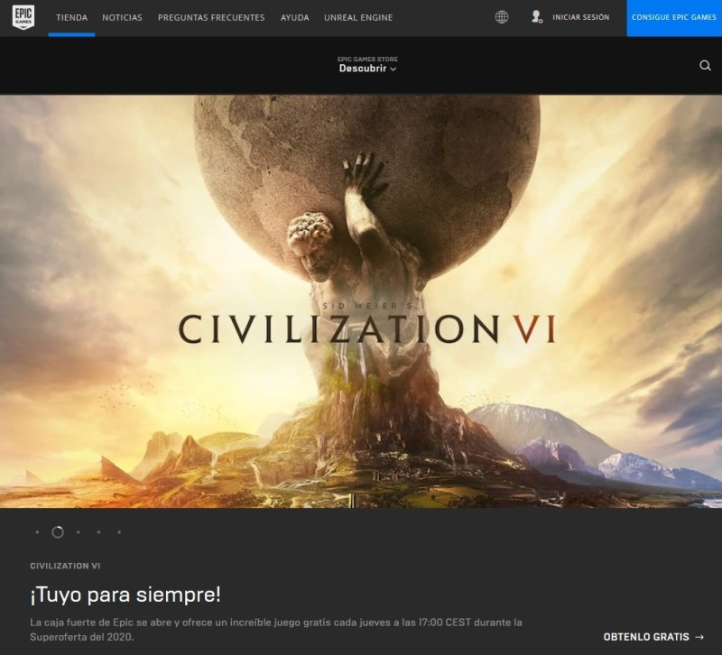 Captura de Civilization VI gratis en Epic Games