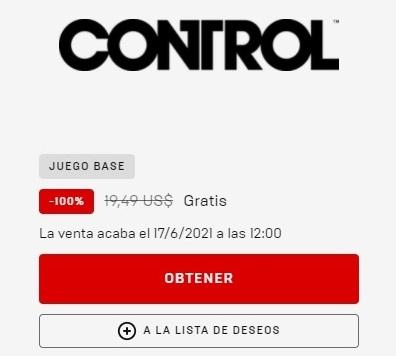 Control gratis en Epic Games