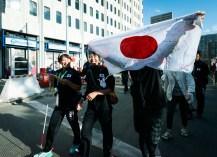 開会式会場までパレード。山田敦子選手とガイドの竹友さん