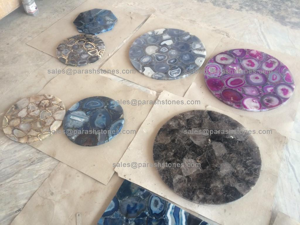 Round Agate Table Top In Blue Agate Pink Black Amp Golden Agate On Sale