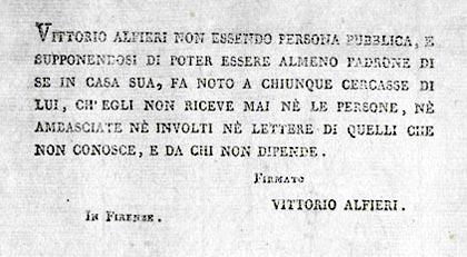 Vittorio Alfieri, foglio fiorentino