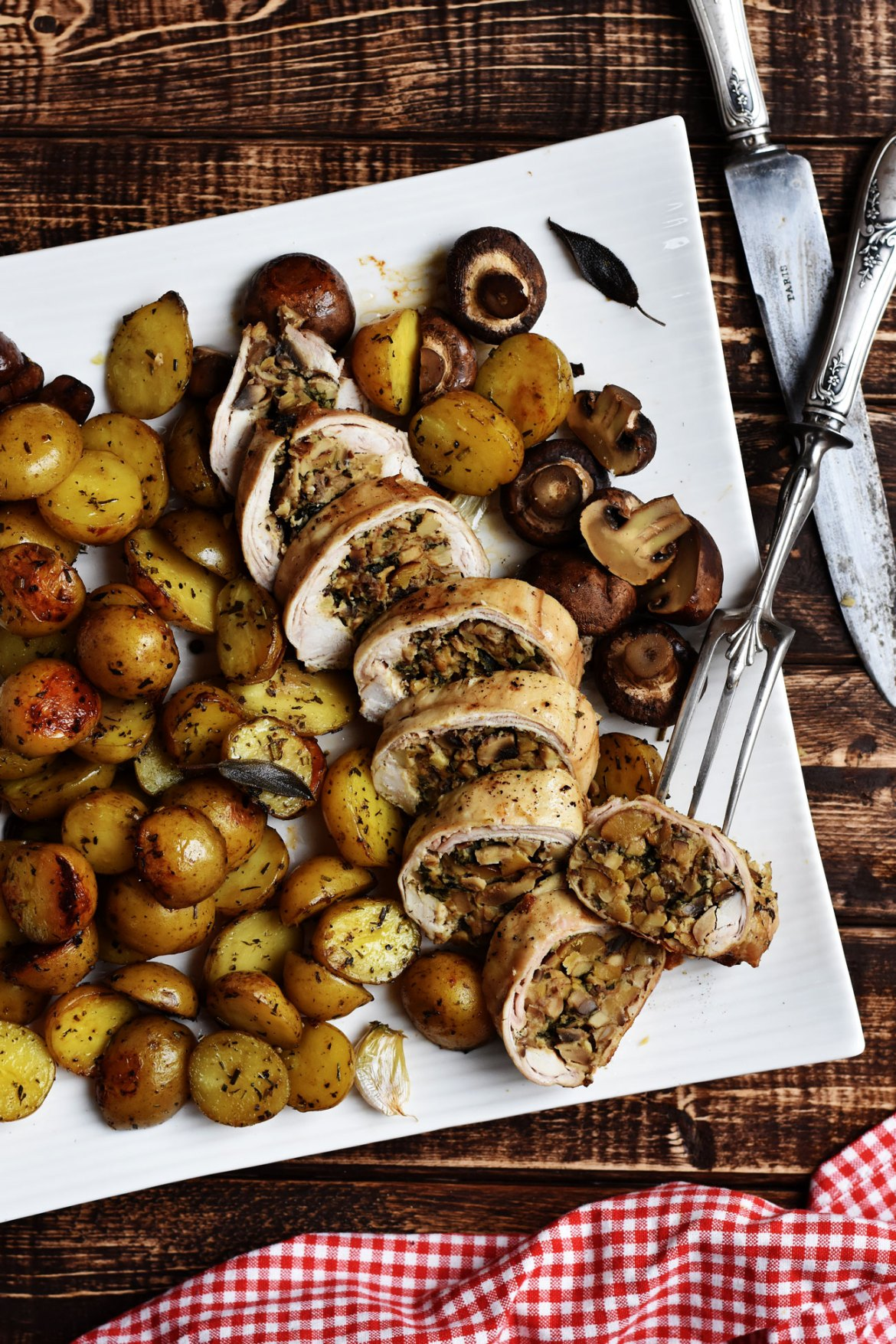 Stuffed Rabbit Saddle with Mushrooms and Chestnuts