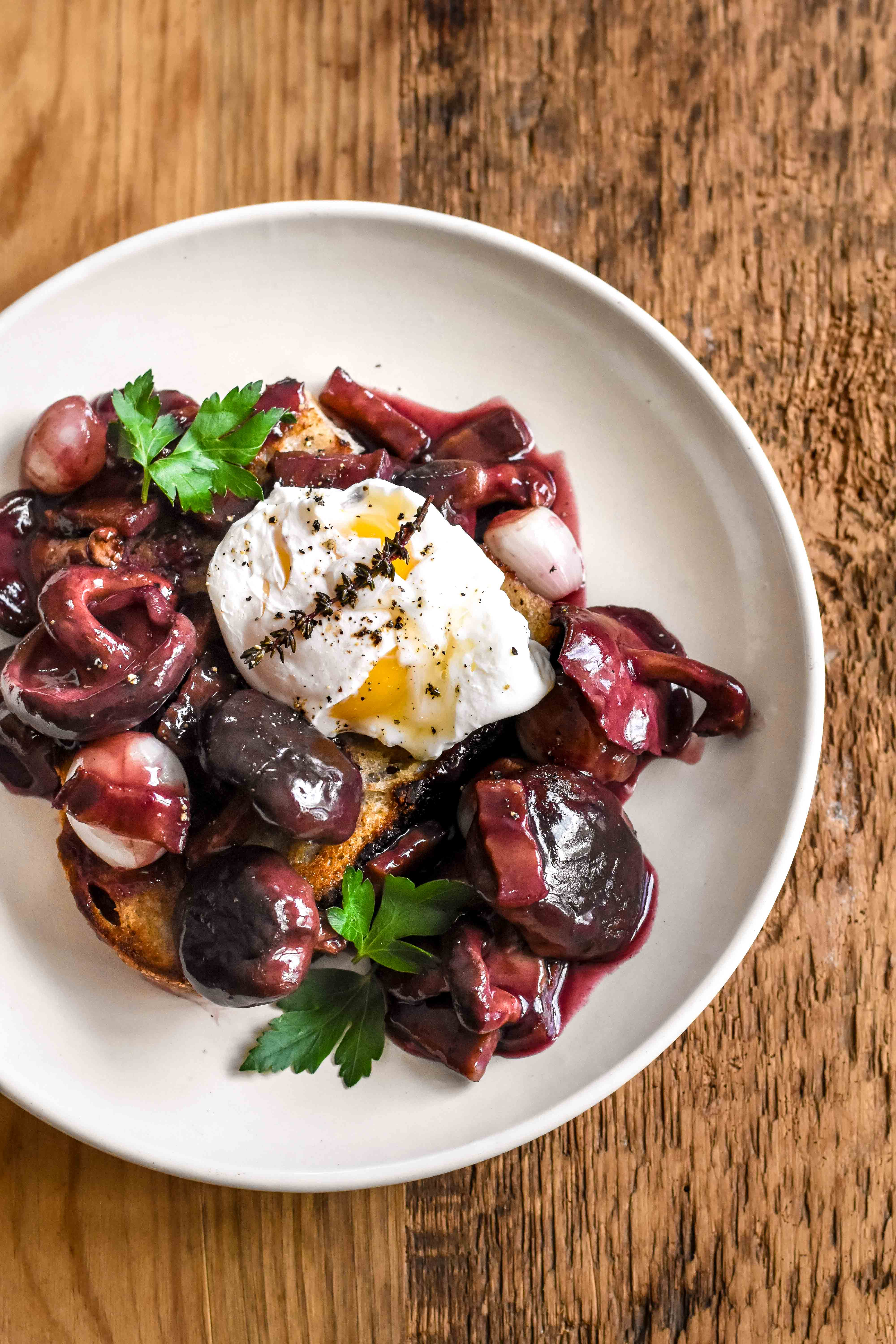 Burgundy Poached Egg In Red Wine Sauce On Toast Oeuf En Meurette Pardon Your French