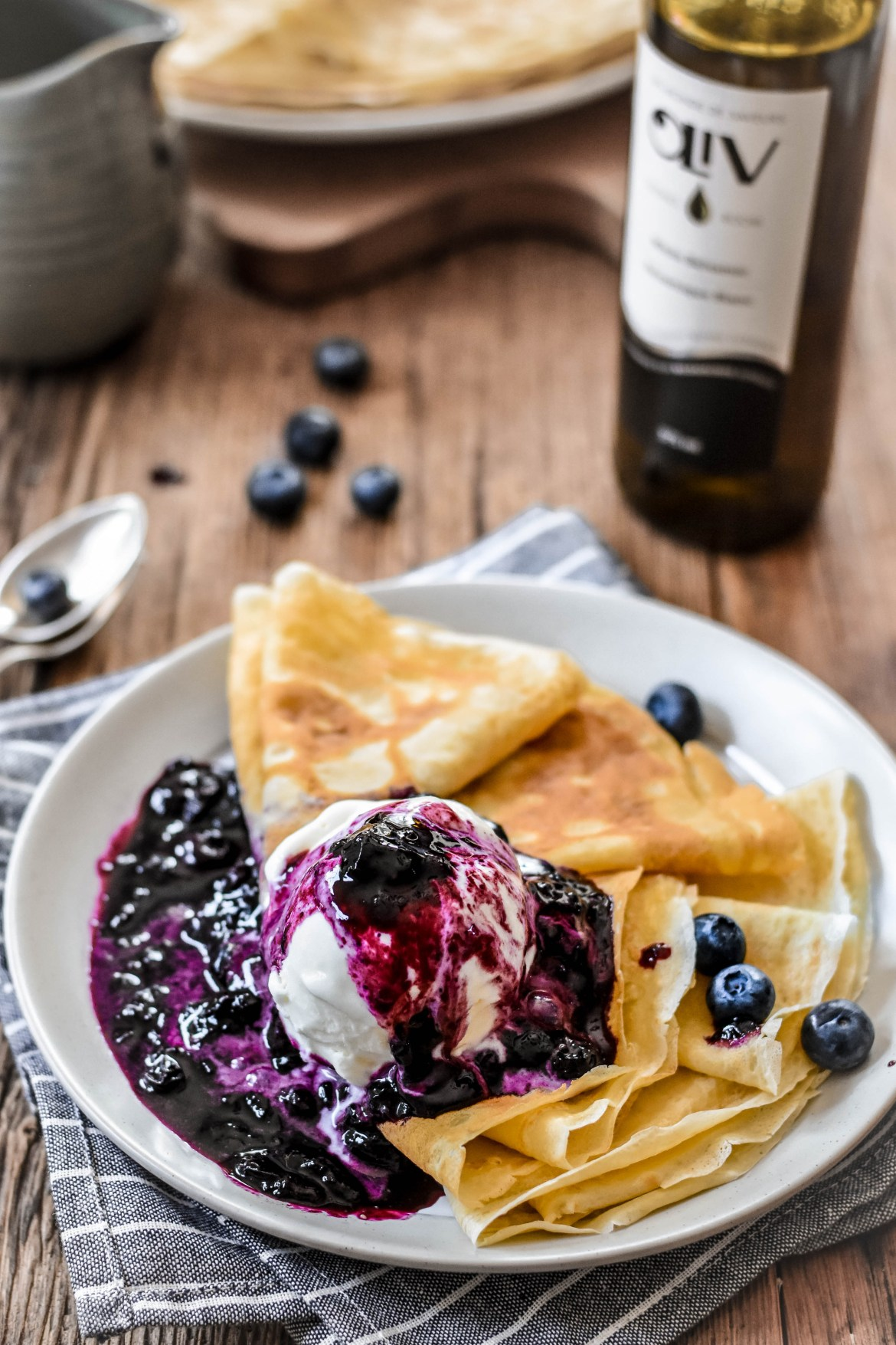 Crêpes with Blueberry Balsamic Sauce and Vanilla Ice Cream