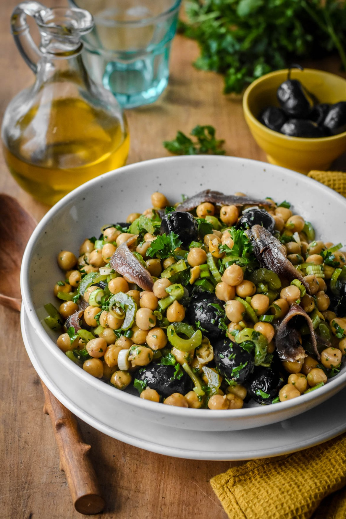 Provençal Chickpea Salad with Olives, Anchovies and Celery