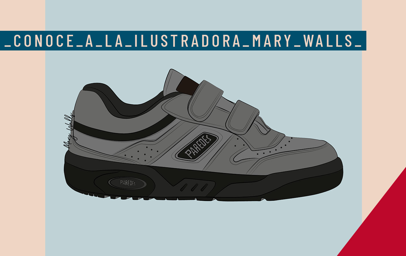 Paredes con la ilustración. Versión ilustrada de las zapatillas Paredes por Mary Walls