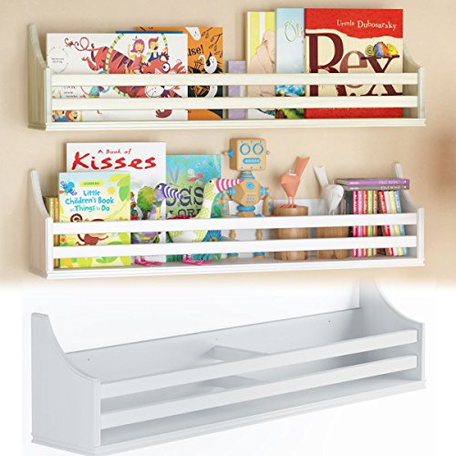 Children's Wood Wall Shelf Multi Use 30 Inch Bookcase Toy Game Storage Display Organizer Traditional Country Molding Style Ships Fully Assembled