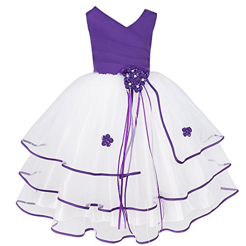 iEFiEL Kids Girls Organza Tulle Wedding Flower Dress School Graduation Short Gown