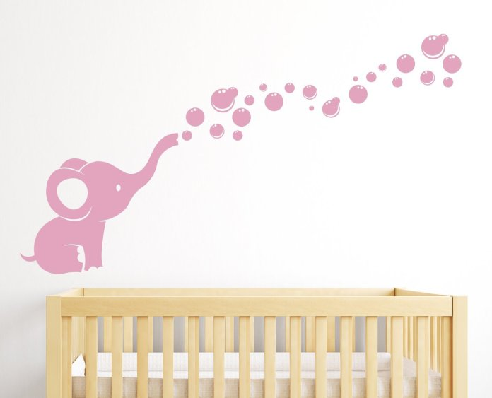Elephant Bubbles Nursery Wall Decal Room Decor (Soft Pink)