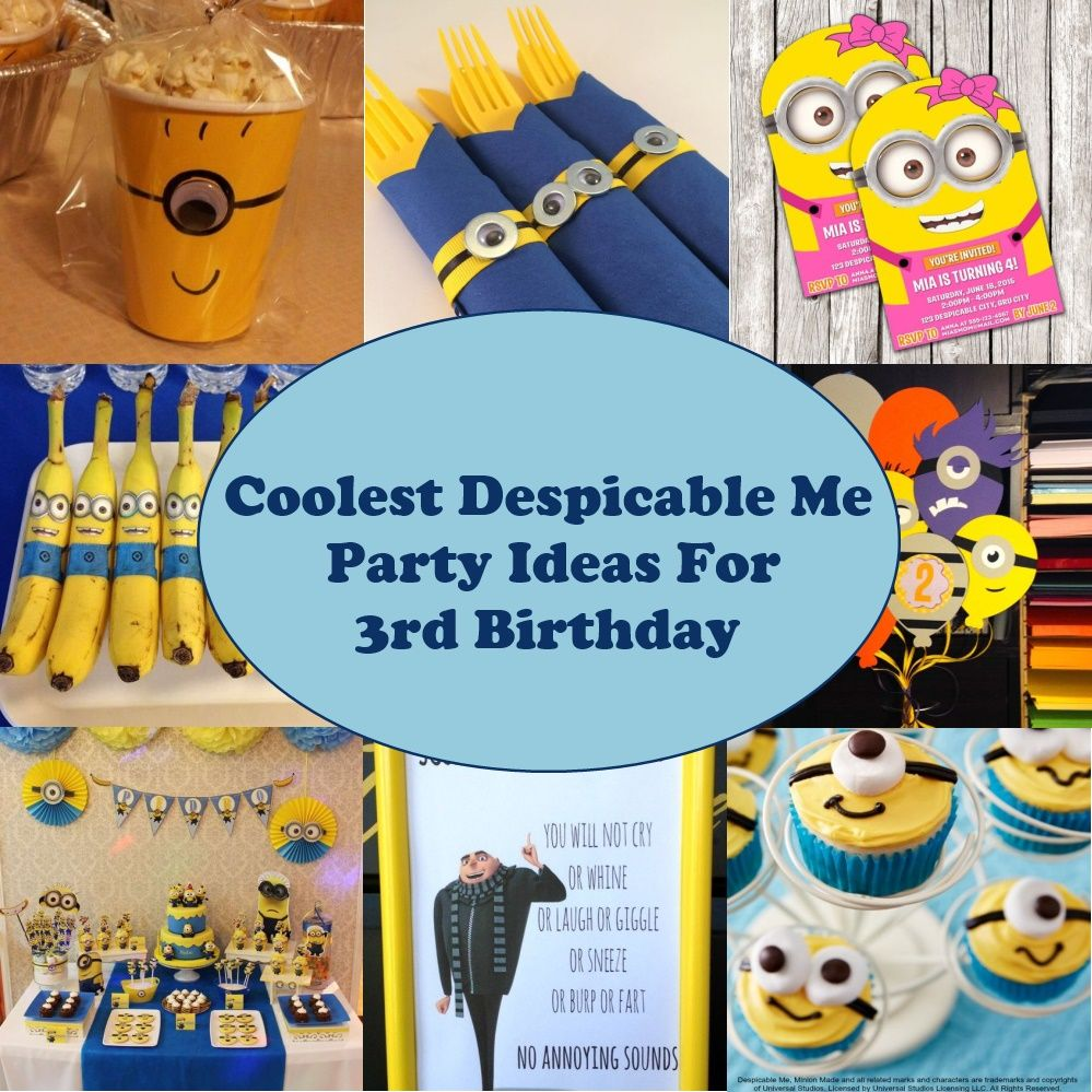 Groovy Coolest Despicable Me Party Ideas For 3Rd Birthday Parental Journey Funny Birthday Cards Online Elaedamsfinfo