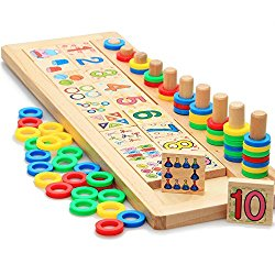 Xin store Montessori Materials Wood Math Blocks Shape Sorter Number and Stacking Learning Toys