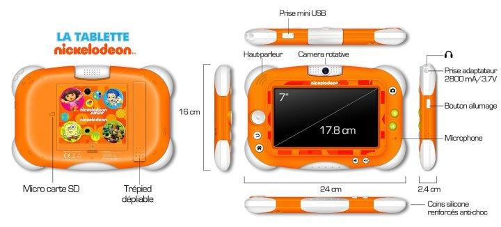 Coque et connectique de la tablette Nickelodeon pour enfants