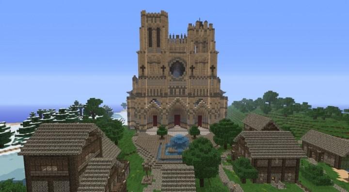Une cathédrale en construction dans Minecraft