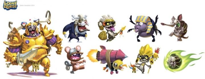 Quelques personnages de Loony Quest