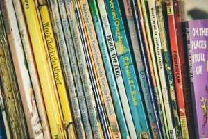 Stack of children's books.
