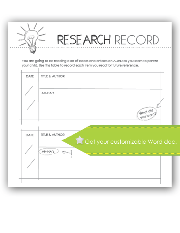 Research Record Worksheet, customize