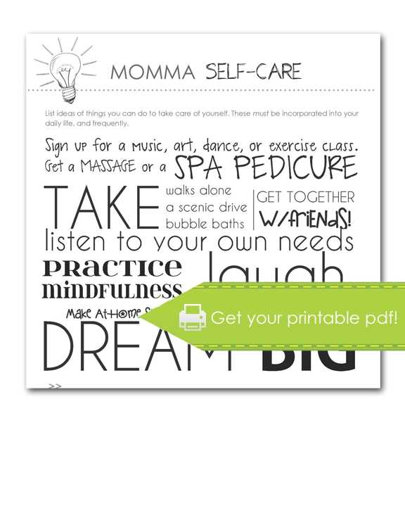 Momma Self-Care Form, print