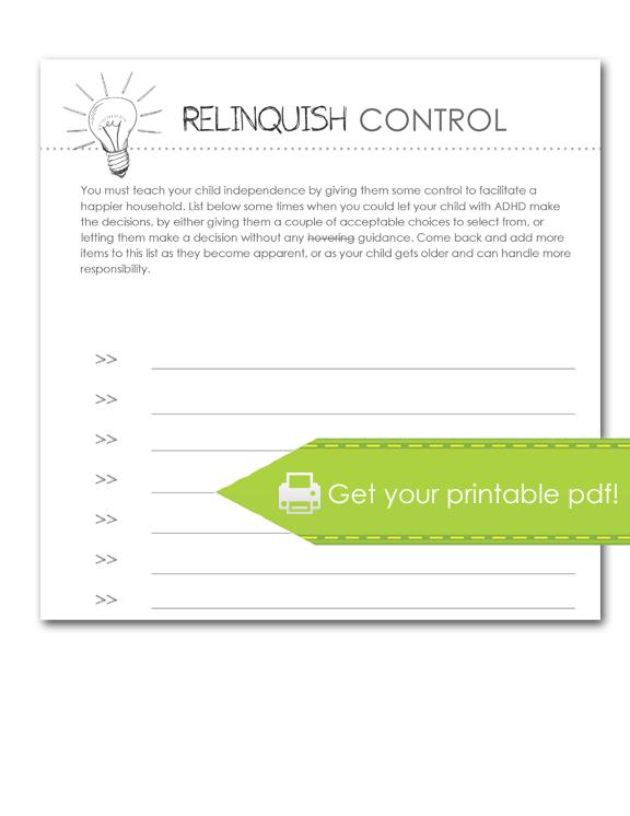 Relinquish Control Worksheet, print