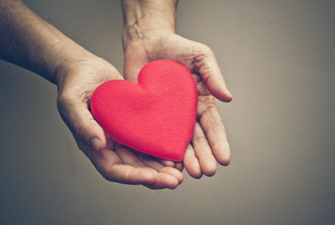 old hands of the elderly giving a red heart