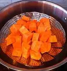 pour sweet potato into the steaming basket