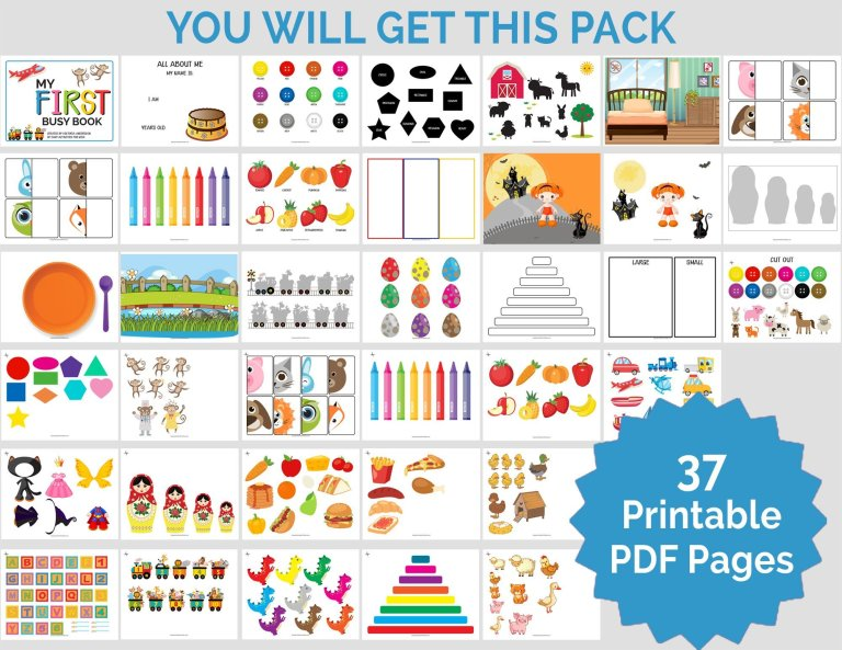 Busy Book For Toddlers Printable Activity