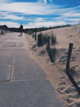 homme et enfant marchant sur un sentier entre les dunes Noordwjick