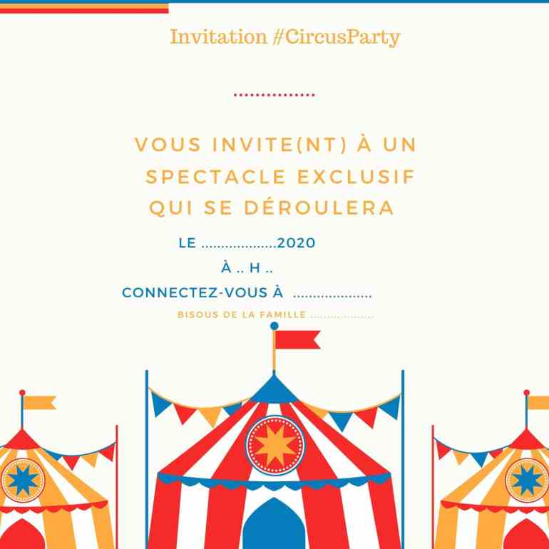 Invitation #CircusParty à imprimer