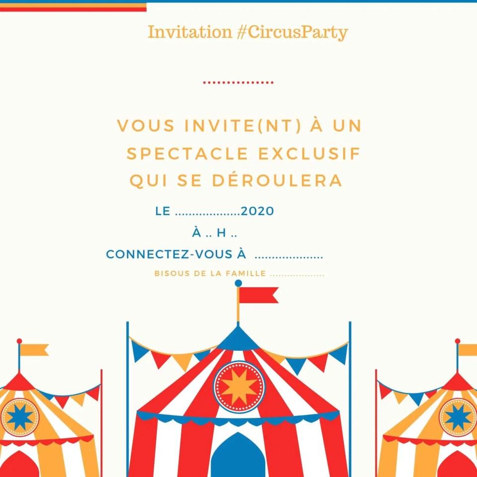 Invitation #CircusParty à imprimer