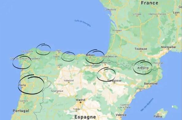 Europe du Sud par la route - Carte