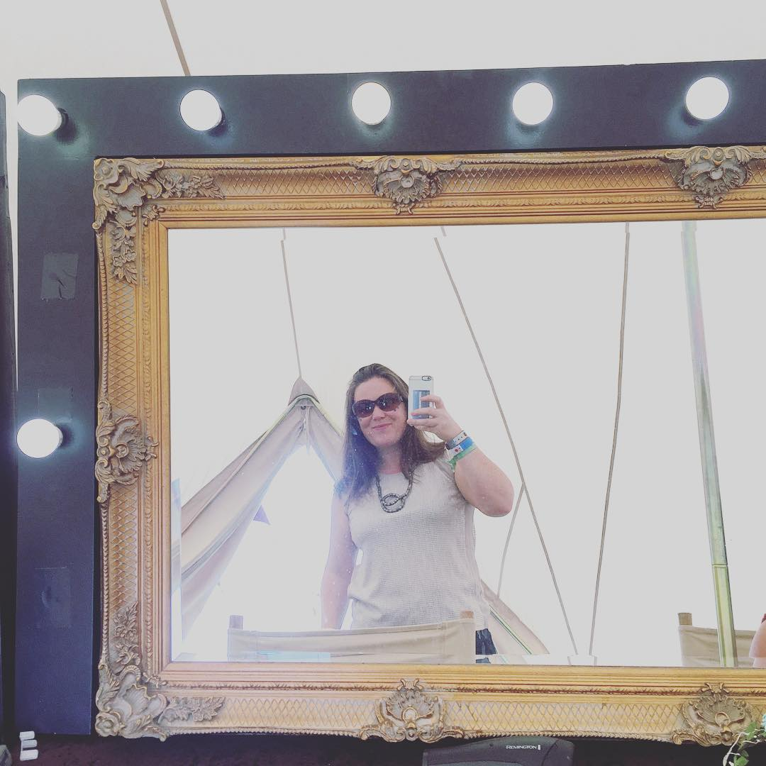 Festival ready with silver for the space theme and blue glow in the dark dots. Love the pamper tent @hotelbelltent although in my defence only popped in to give my hair a 2min blast #hotelbelltent #campbestival #glamping #festivalvibes #festivalfashion