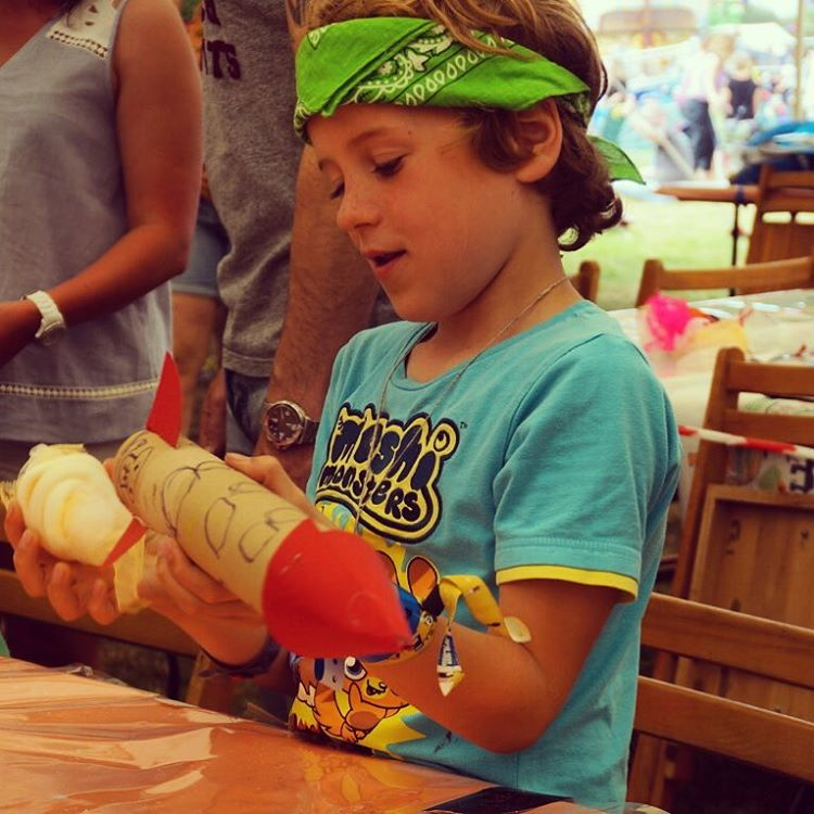 Making space rockets in the art tent, Mr G has gone for a pirate space rocket @campbestival #campbestival
