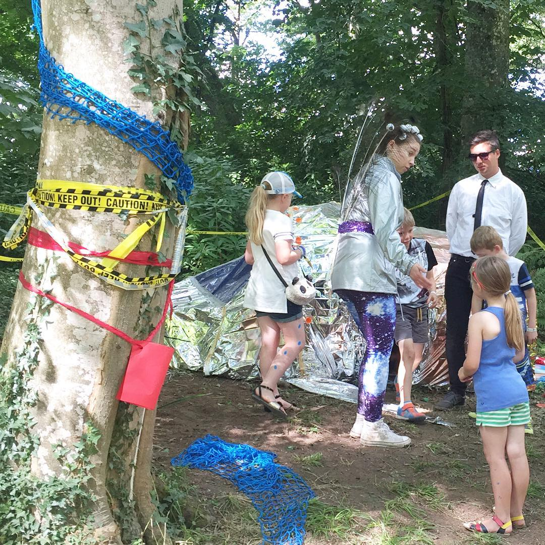 An alien spaceship has landed in the woods @campbestival we've been invited to help with the investigations #campbestival