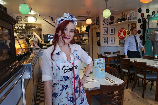 Vintage and Delicious - Fish and Chips at Poppies, London, in the UK!