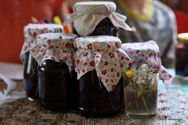 blackberry jam with floral material tops