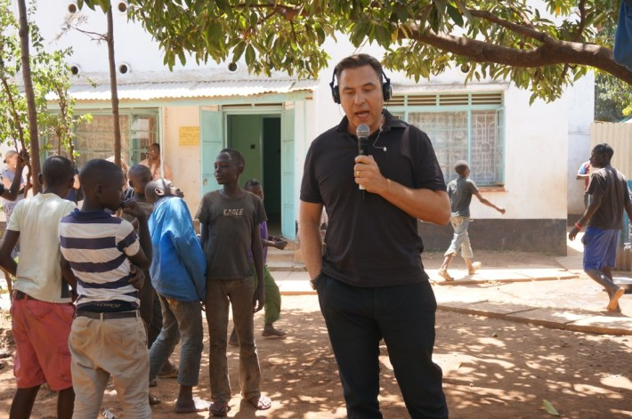 Visiting a Comic Relief funded project in KIsumu, Kenya with David Walliams for Red Nose Day 2015 Launch