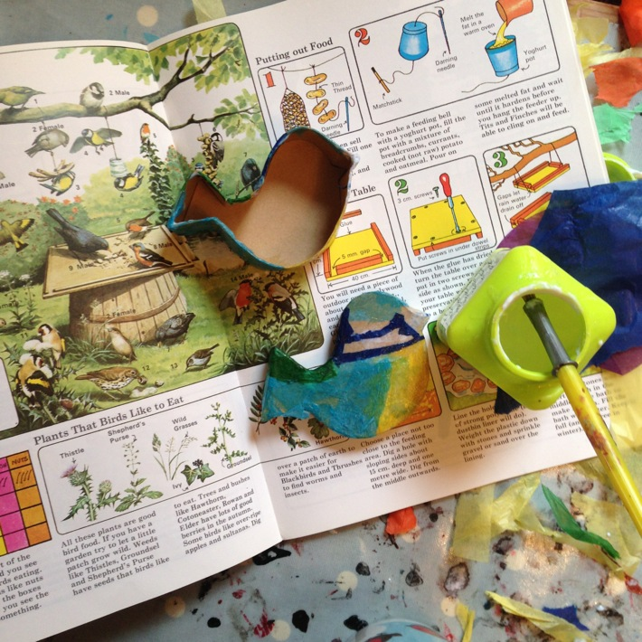 Making a decoupage bird shaped box with kits from Baker Ross-2