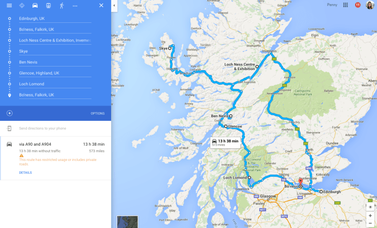Map of our Scottish Family Road Trip