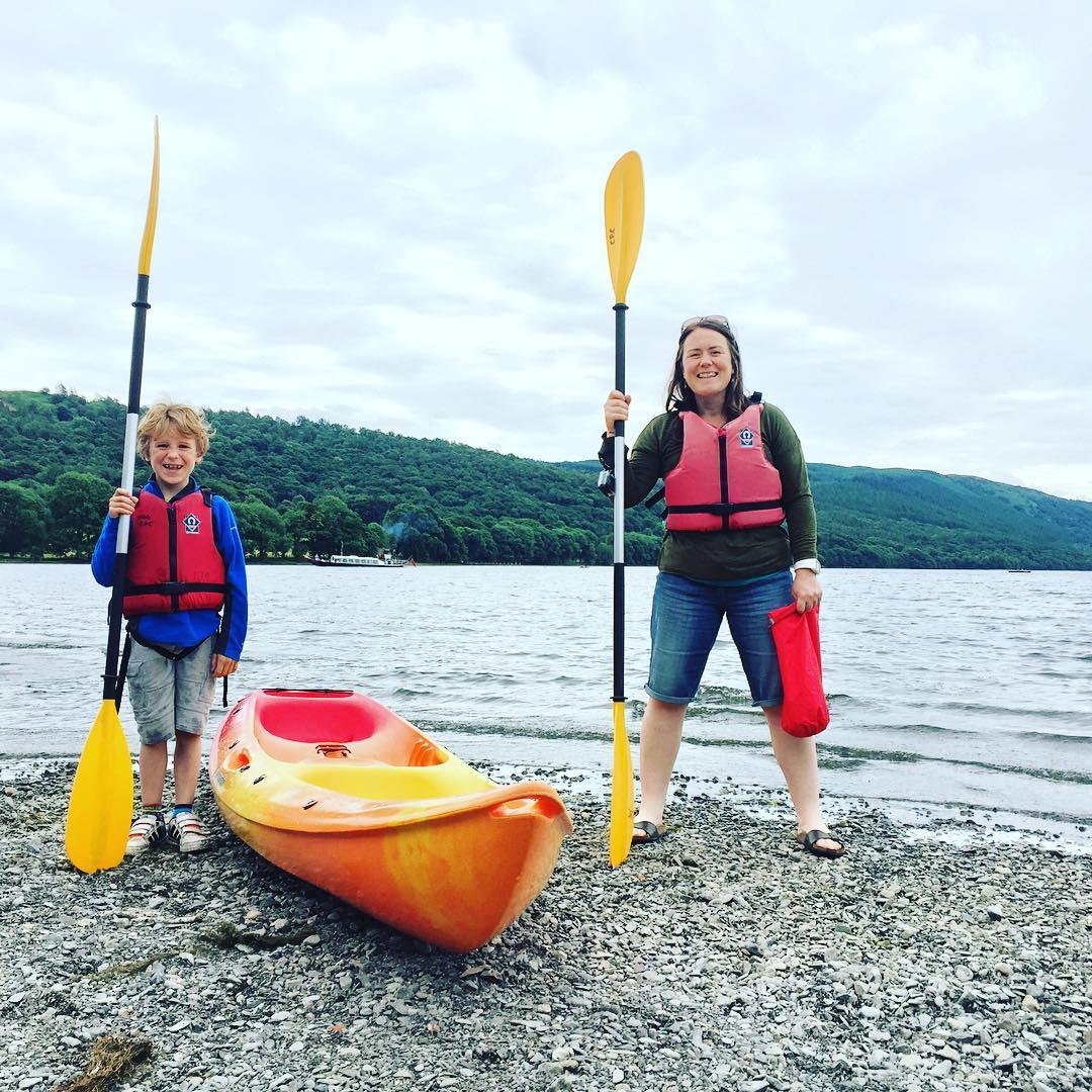 Me and him are having a #swallowsandamazons kind of weekend. Just us two. 3 hours in the car to the Lakes totally enthralled by the audiobook and then straight into a kayak on Coniston. That's my boy!