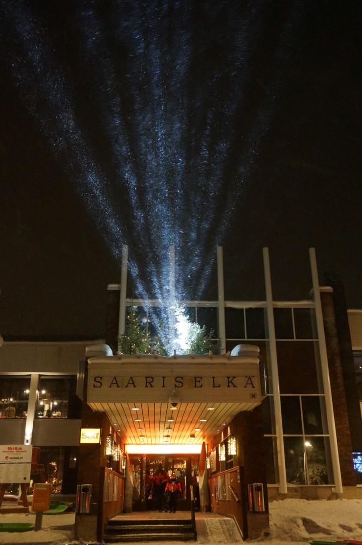 Main reception lit up by night at Santa's Hotel Tunturi